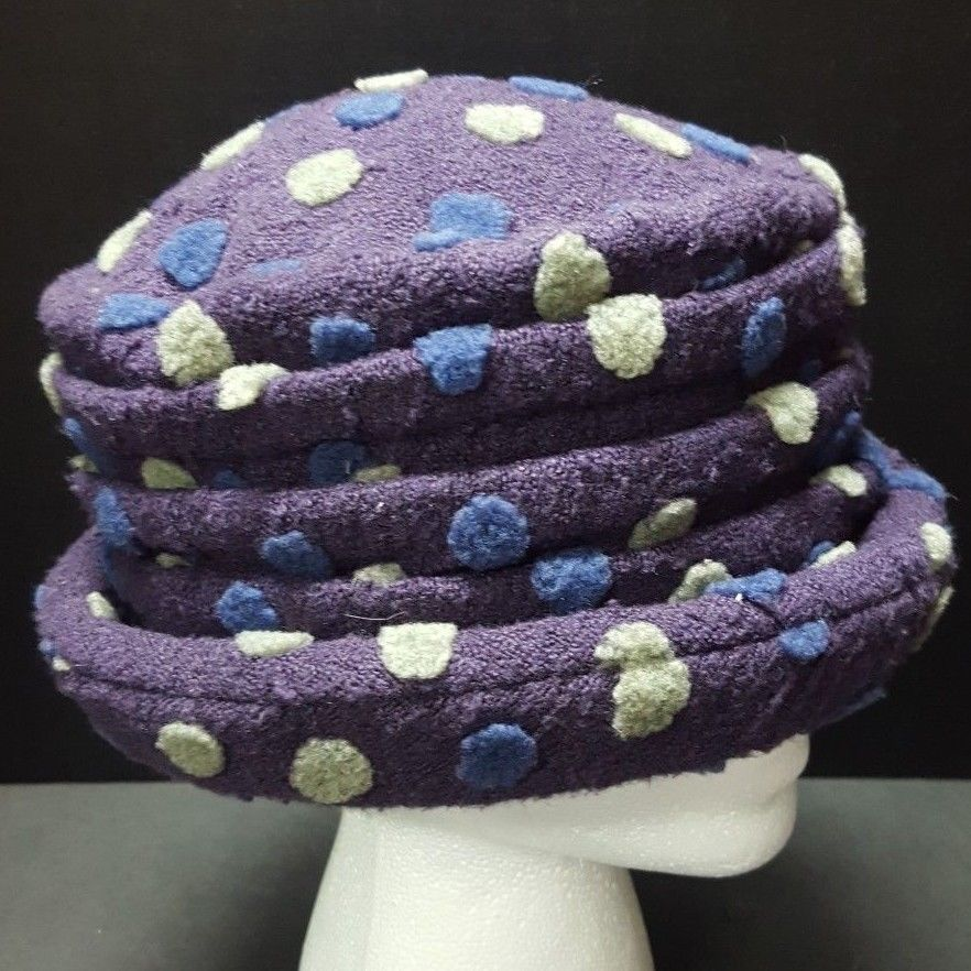 d83bbe17a7f April Cornell Purple Pleated Bucket Hat Textured Dots Quilted Lining Boho  Chic  AprilCornell  Bucket  casual