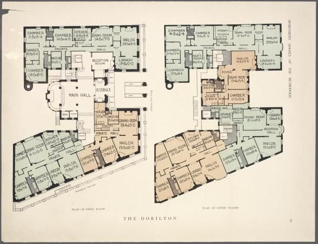 10 elaborate floor plans from pre wwi nyc apartments for Apartment floor plans new york