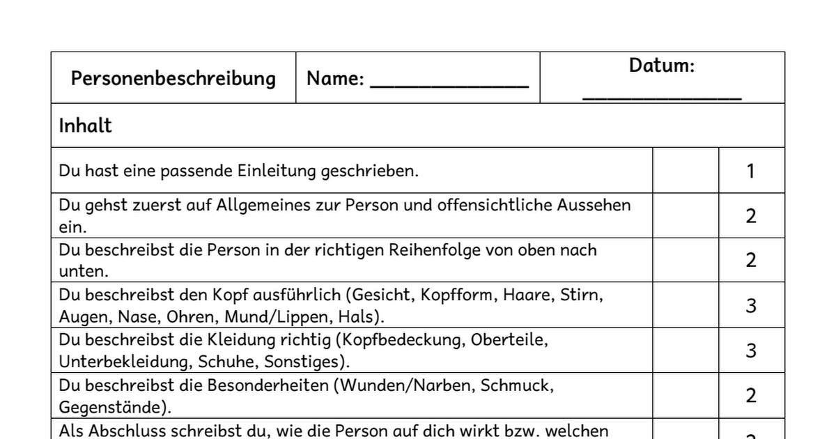 Bewertungsraster Personenbeschreibung.pdf | École | Pinterest | Pdf