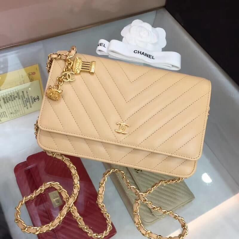 b5a0a375f82785 Chanel Chevron Lambskin WOC Bag with Owl Chain Beige 2018 | Chanel ...