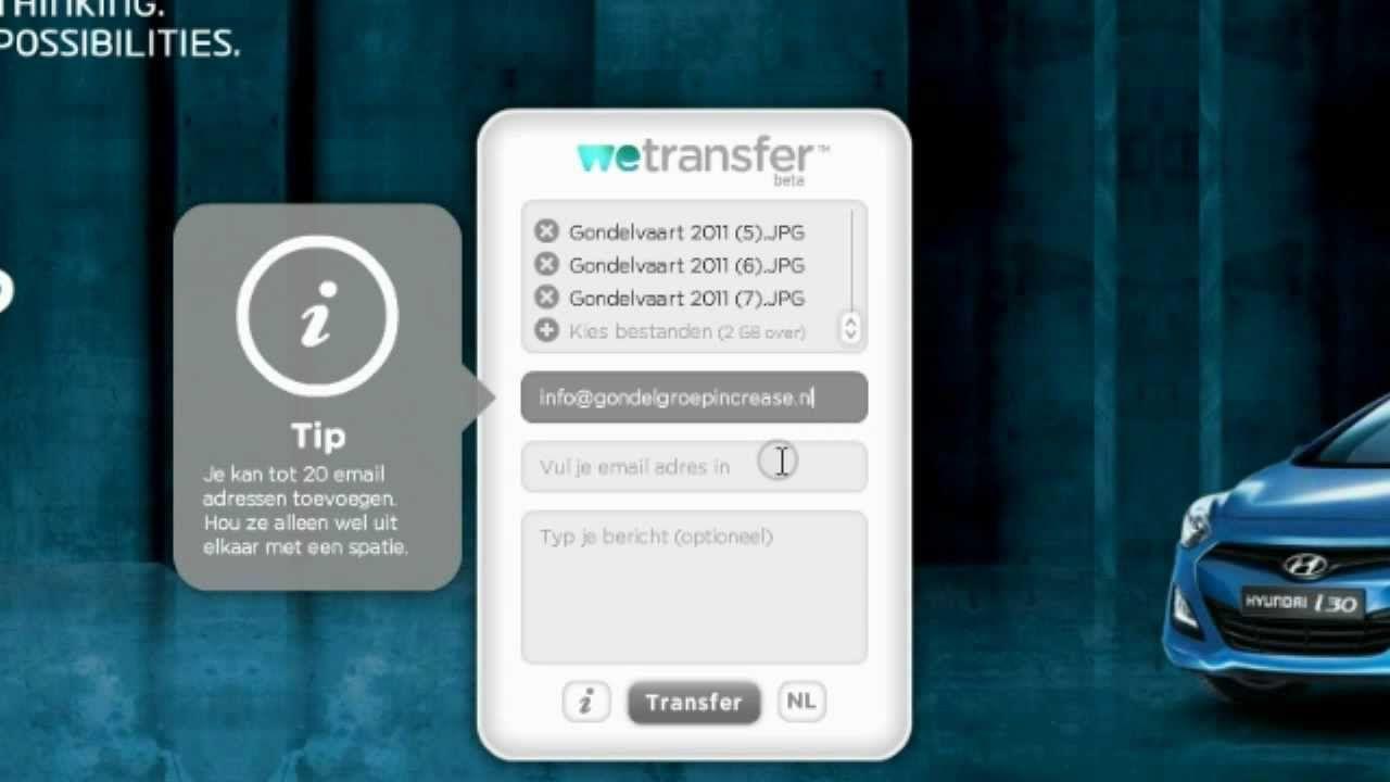 Instructie video over hoe je gemakkelijk grote bestanden via het internet kunt versturen via WeTransfer. http://tinyurl.com/pewyvx5
