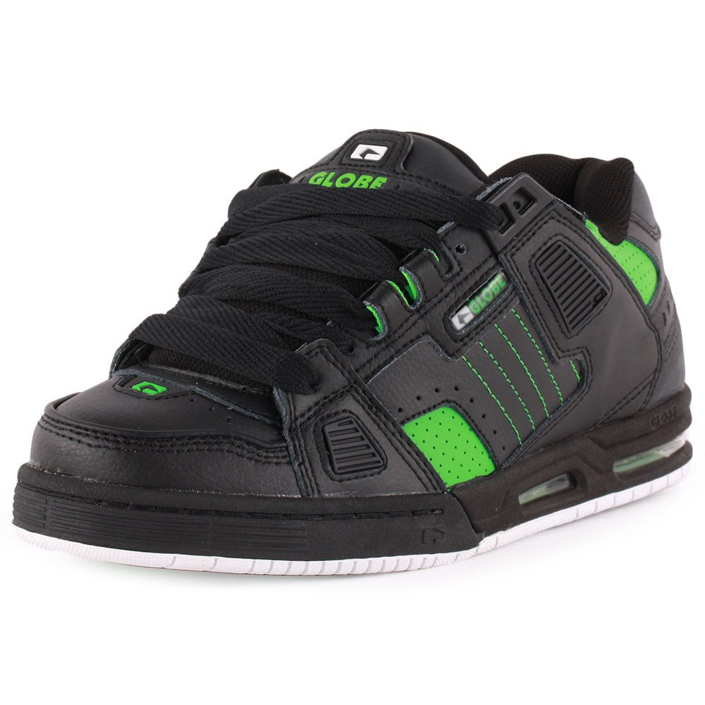 Globe Sabre Mens Leather & Suede Black Green Skate Trainers New Shoes All  Sizes