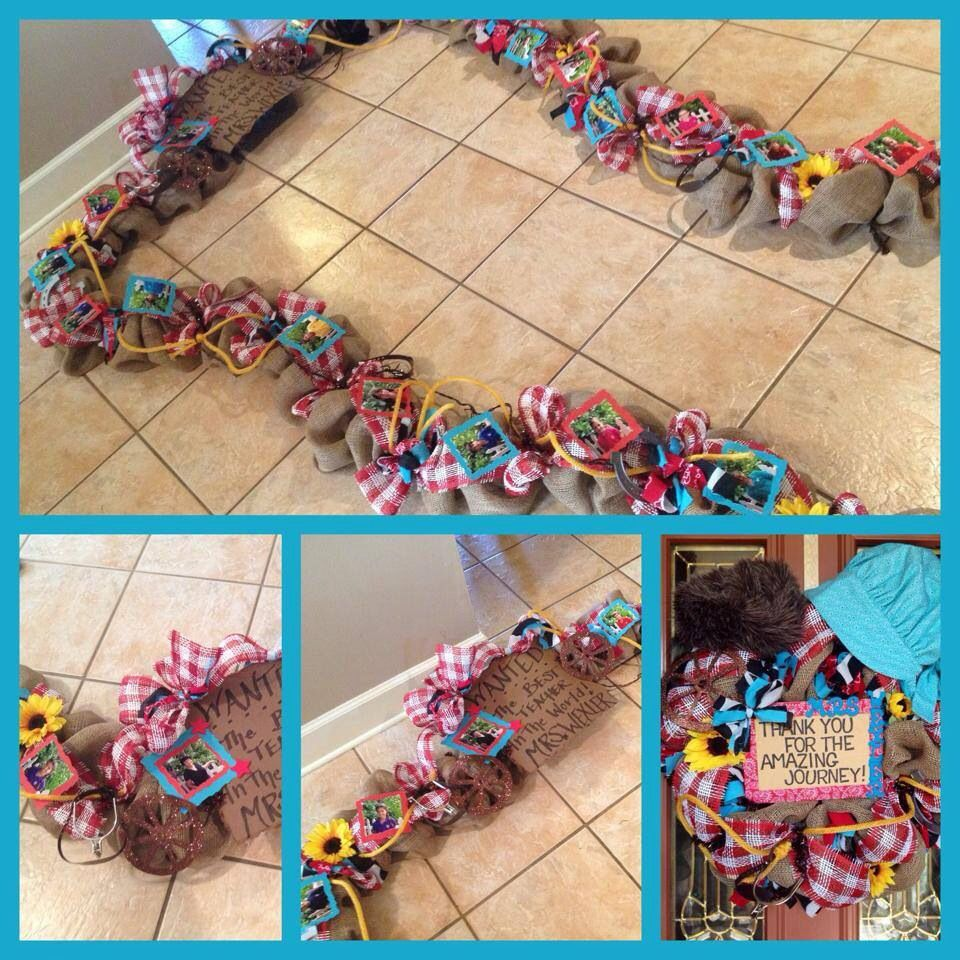 Custom designed full garland and wreath bundled into one price (525 plus shipping). You pick your theme. Theme pictured: cowboy/pioneer/wild west. Find on Chic Affair's Etsy page!
