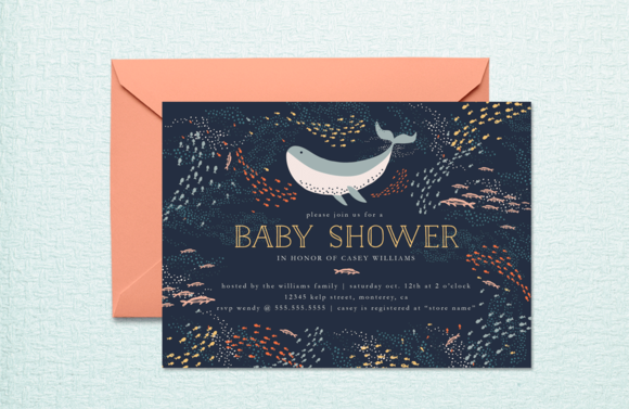 Marine Life Baby Shower Invite by origamiprints on @creativemarket