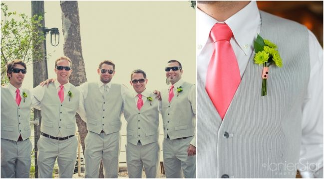 coral ties accent accent the silver suits of the groomsmen beautifully from a wedding on