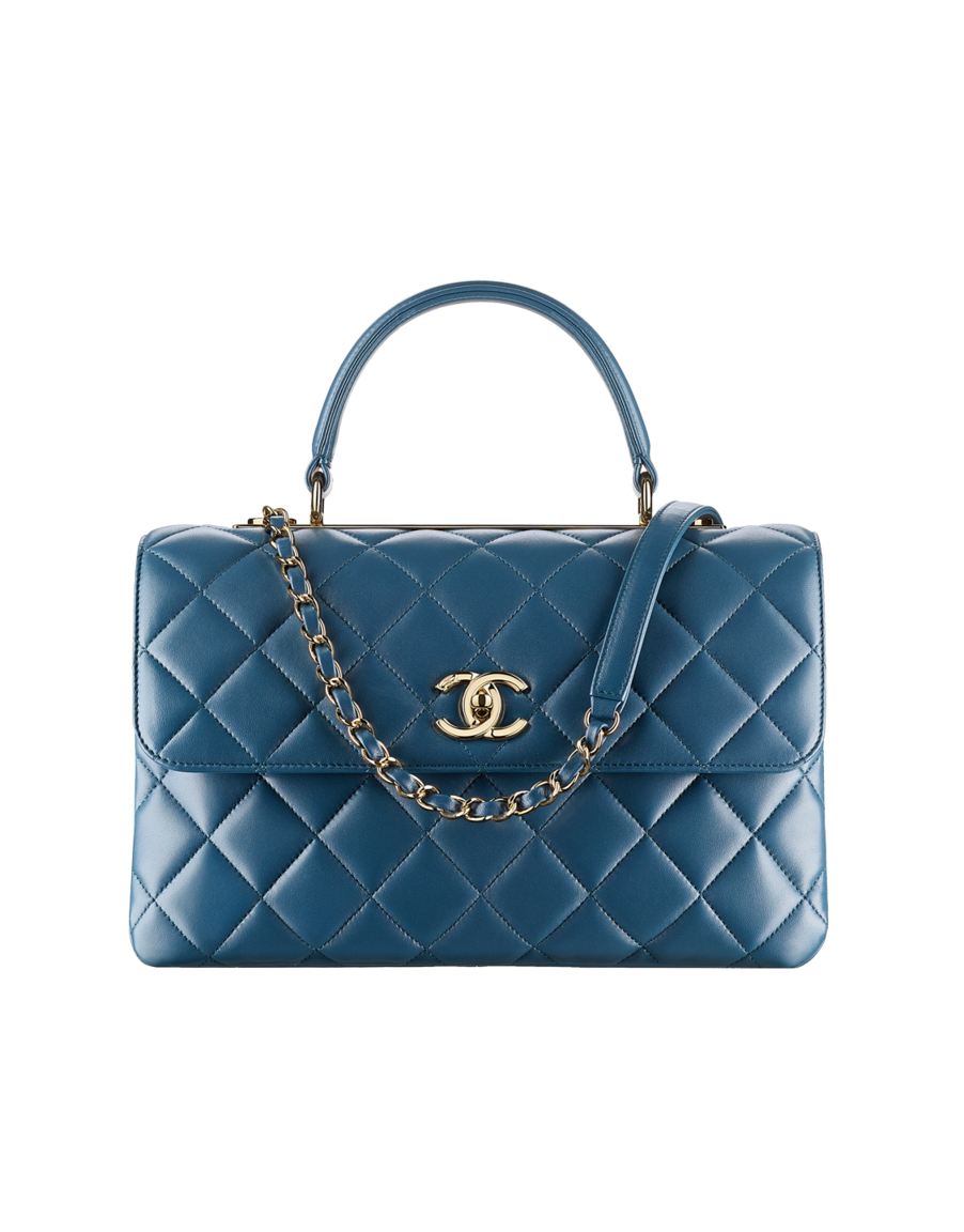 eee4c48c389d3a Flap bag with top handle, lambskin & gold-tone metal-blue - CHANEL