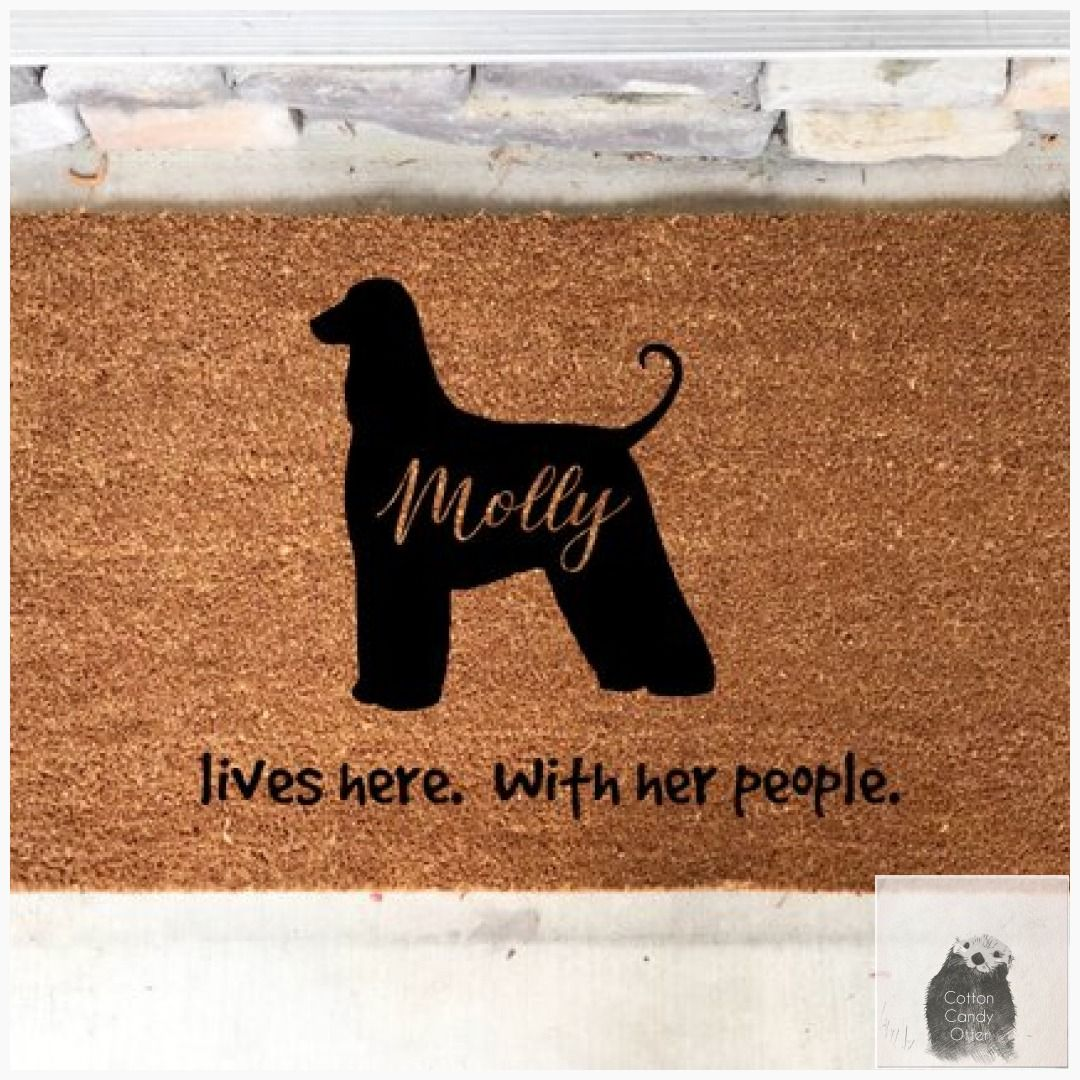 Afghan hound personalized custom door mat family gift
