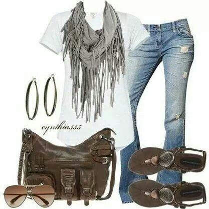 Casual jeans and a white T-shirt