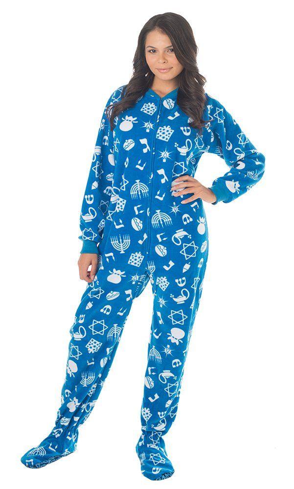 f4f6946c62 Amazon.com  Footed Pajamas Hanukkah Fun Adult Fleece  Clothing ...