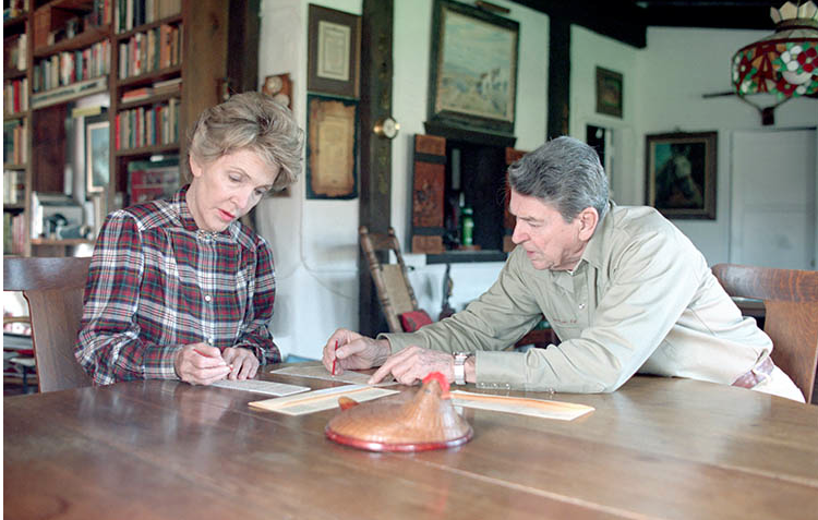 Nancy Reagan and her husband, President Ronald Reagan in their southern California ranch house. (RPL)
