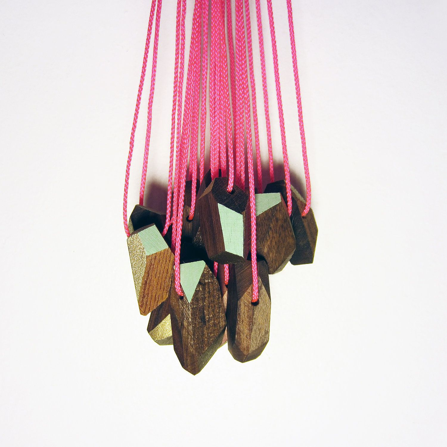 hand painted geometric walnut pendant necklaces by FIGUREframe.