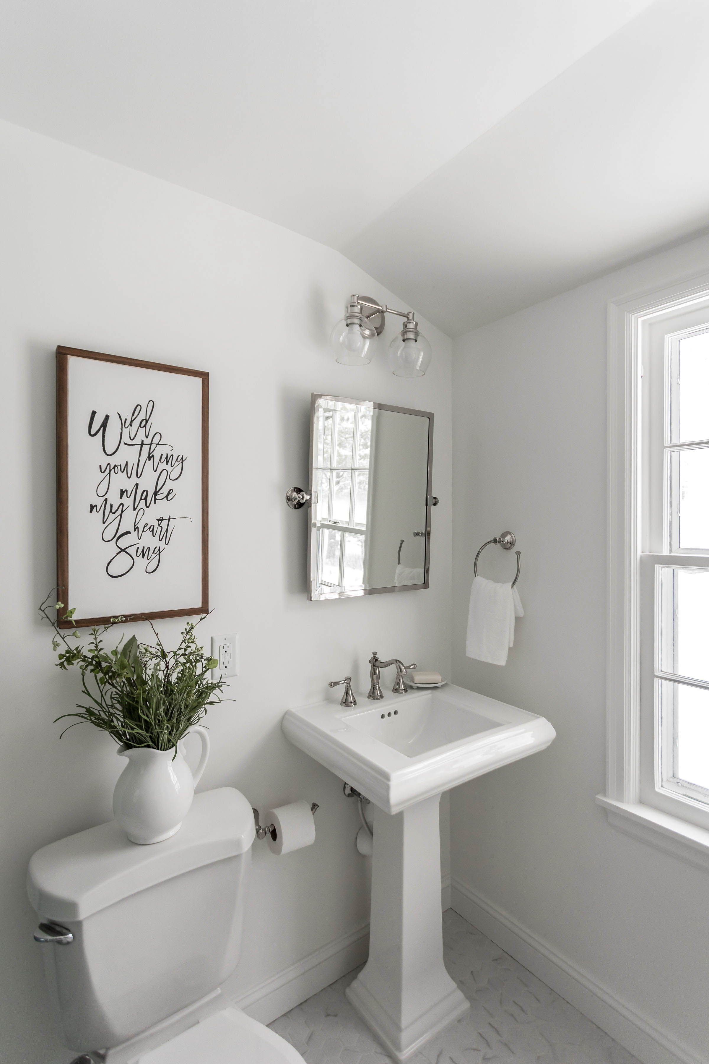 All White Walls Blue Shower Tile Bathroom Pedestal Sink Jkath Design Build Reinvent L Half Decor Remodel Powder Room