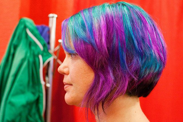 Blue and purple layered short hair