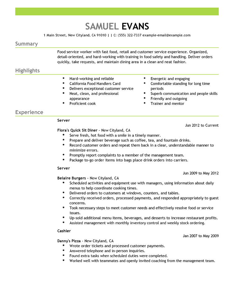 Sample Resume For It Professional Endearing Fastfoodserverfoodrestaurantresumeexampleemphasis2Expanded .
