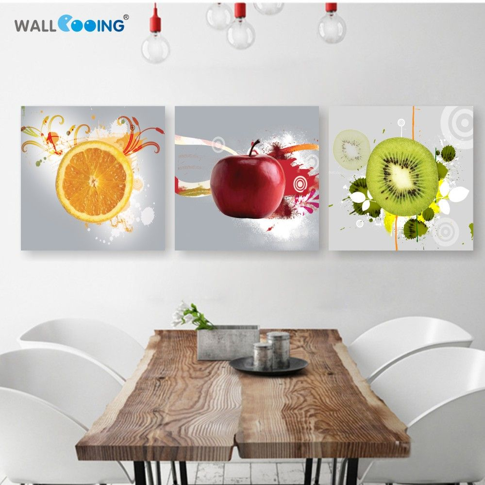Superior Canvas Painting 3 Panel Restaurant Fruits Orange Grape Green Apple Wall Art  Modern Modular Pictures On For Kitchen Decor Poster
