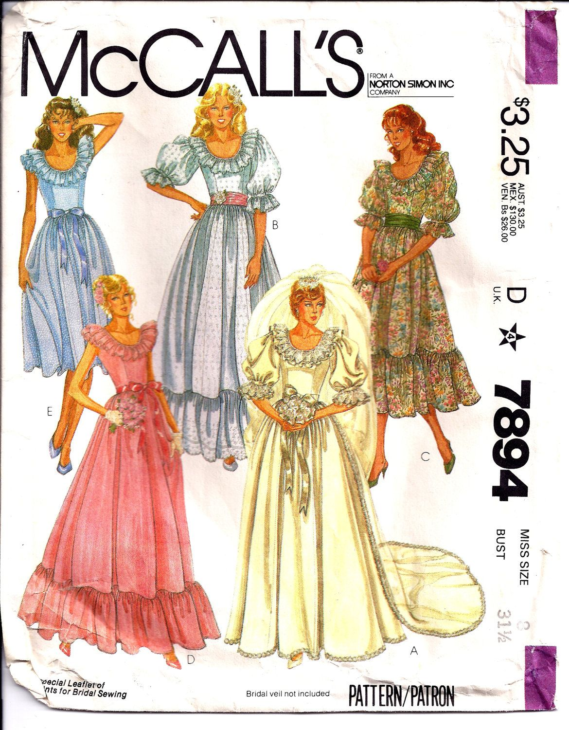 McCalls 7894 Sewing Pattern Vintage 1982 Wedding Gown | Sewing ...
