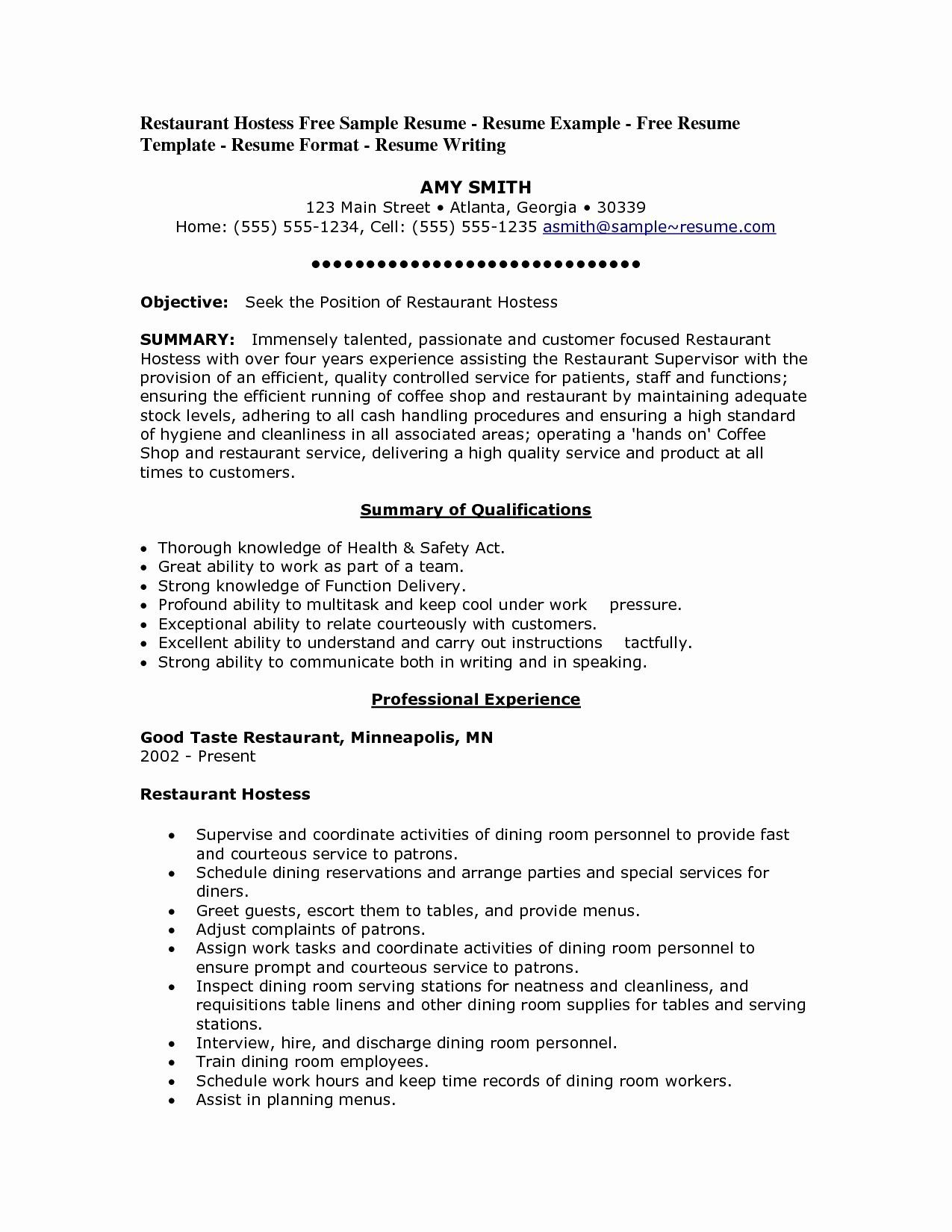 resume objective for restaurant job