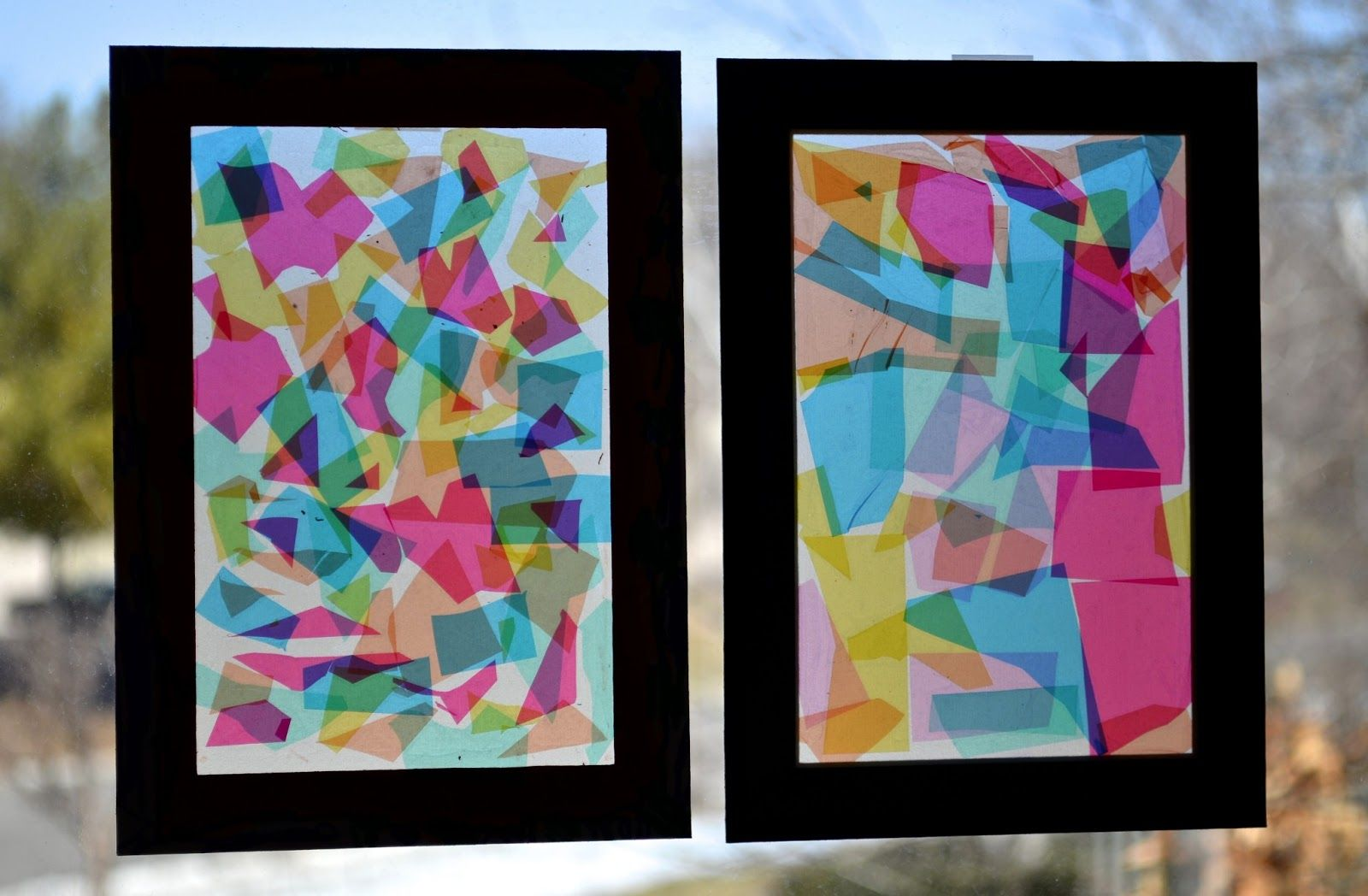 Faux Stained Glass Collage Cut Up Colored Cellophane