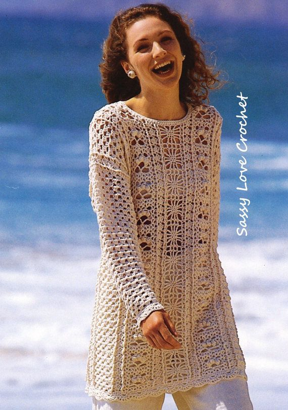 Crochet U.K. Tunic Pattern, Long Sleeve Pattern Womens Crochet Beach ...