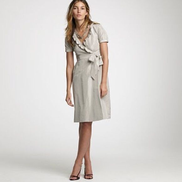 J Crew Silk Taffeta Ruffle Wrap Dress