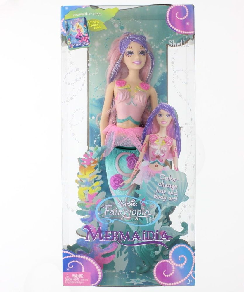Nib Mattel Barbie Fairytopia Mermaidia Shella Doll Hair Color Change