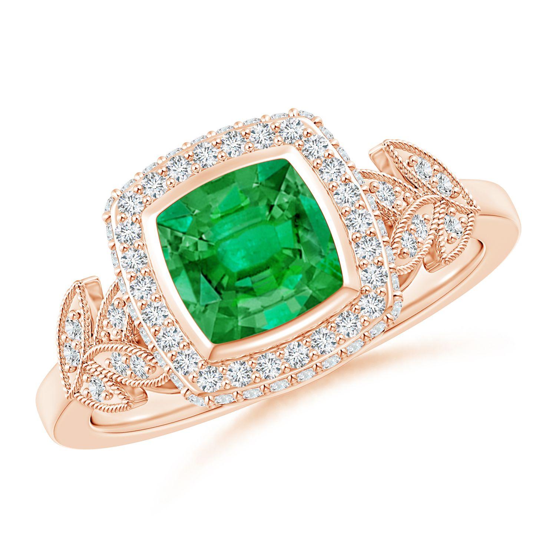 Angara Scallop-Edged Diamond Double Halo Emerald Vintage Ring 5i9WH
