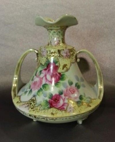 Antique C1900 Handled 24k Gold Hand Painted Noritake Nippon Vase