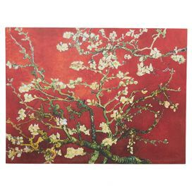 'Interpretation in Red Blossoming Almond Tree' by Vincent Van Gogh Painting Print on Wrapped Canvas