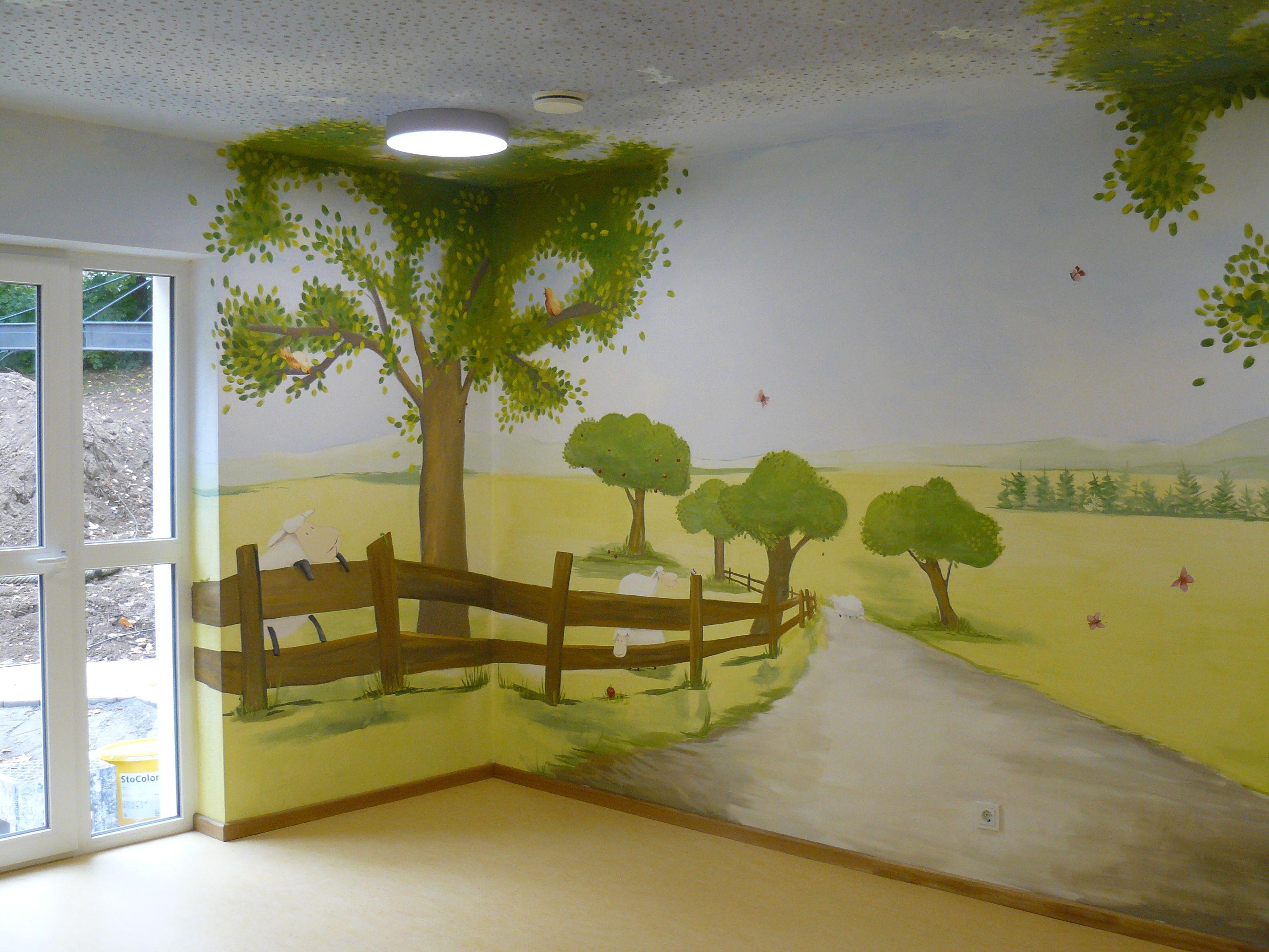 carola sommer❤malerei wände kinderzimmer schafe bäume, Wohnzimmer dekoo