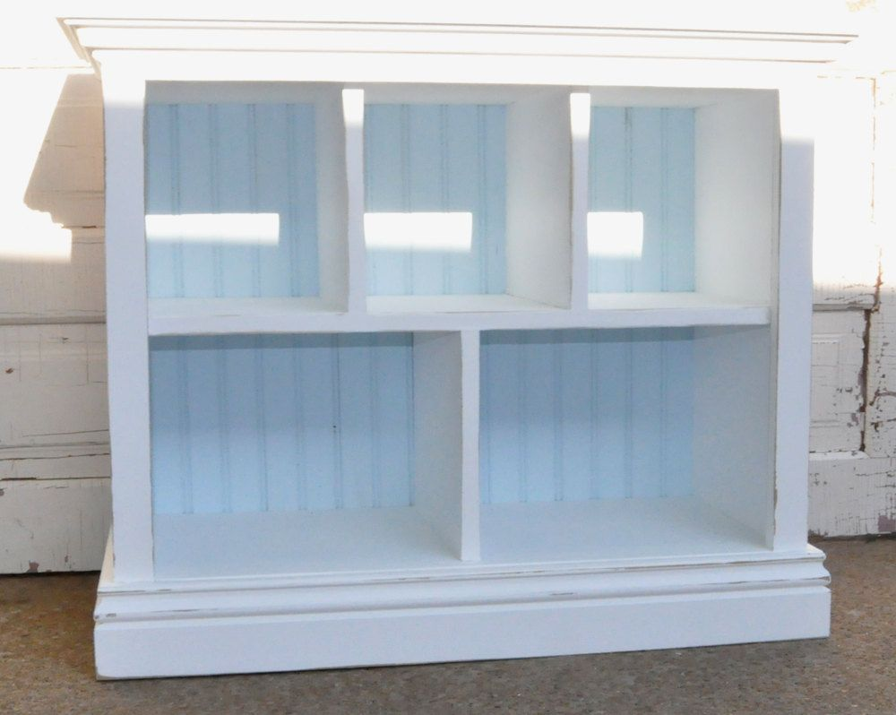 Childrens Bookshelf With Cubby Shelves In Distressed White And Light Blue