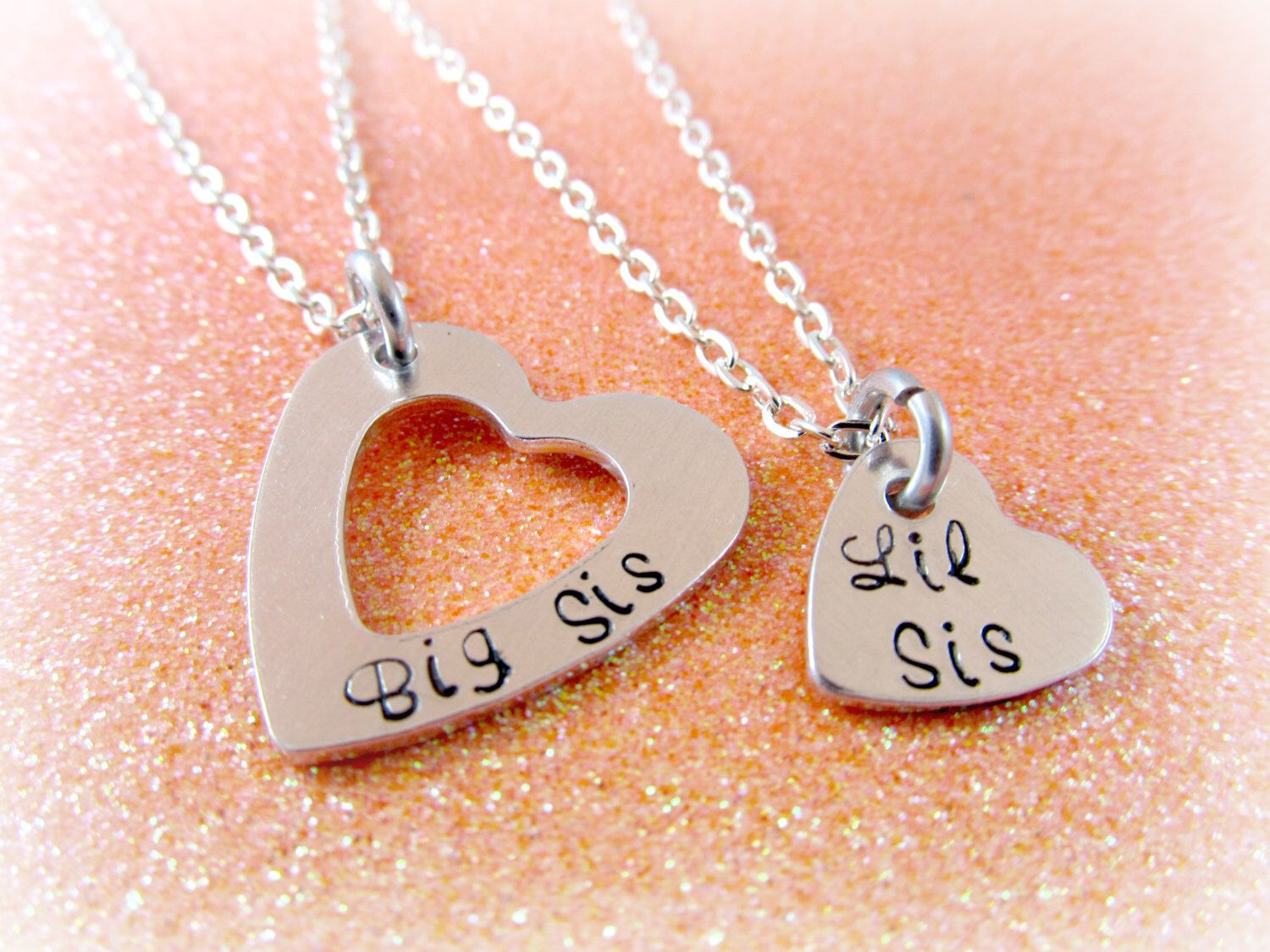 Sister Jewelry Set - Big Sis Little Sis Necklaces - Hand Stamped Necklace Set for Sisters - Sister Necklaces by EverythingPrettyShop on Etsy https://www.etsy.com/listing/125435776/sister-jewelry-set-big-sis-little-sis
