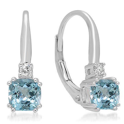 14K White Gold Dangle Earrings With Cushion Cut Blue Topaz Gemstones Drop