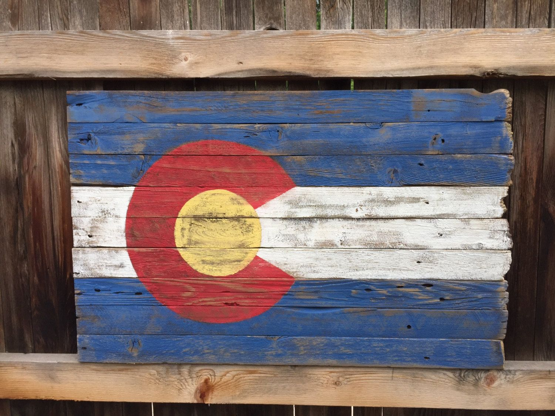 Rustic Wood Colorado Flag Etsy Wood Flag Flag Wall Decor Colorado Flag