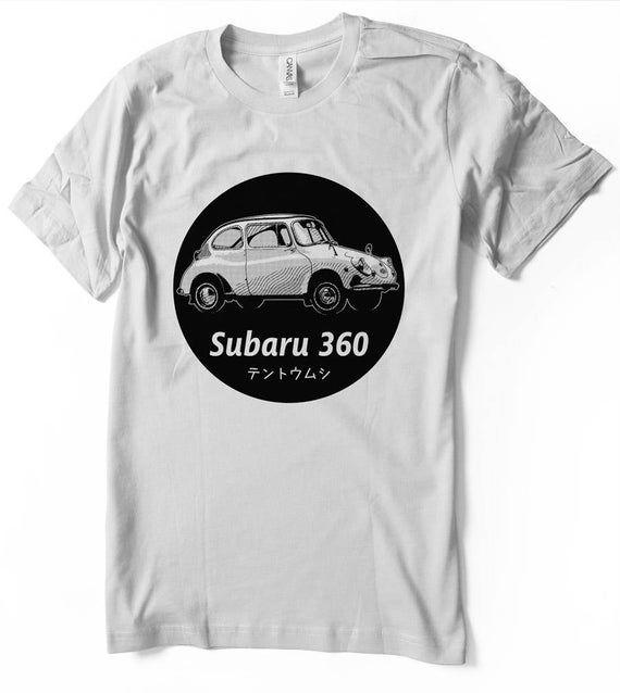 Subaru 360 T-Shirt Ladybug Japanese Classic car JDM vintage retro shirt   – Men – Women sizes –  Hand Screenprinted