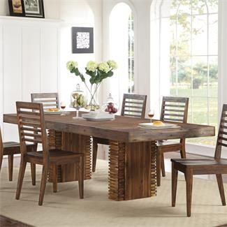 Riversideu0027s Modern Gatherings Wood Dining Table U0026 Chairs Brushed Acacia By  Humble Abode. The Beautiful Acacia Wood Dining Table Includes An 18 Inch ...