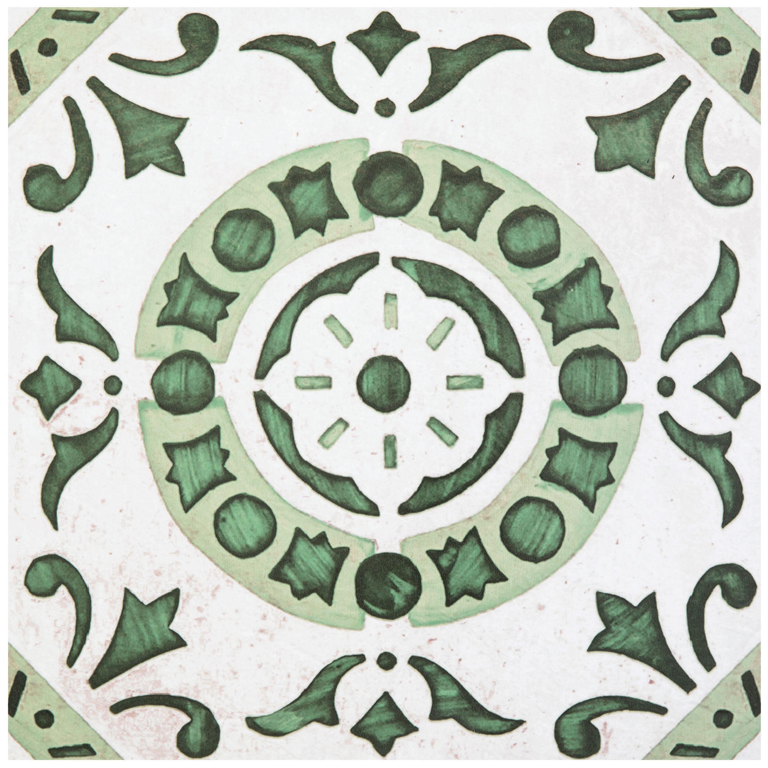 Achim Retro Self Adhesive Vinyl Floor Tile 20 Tiles 20 Sq Ft 12 X 12 Green Medallion Walmart Com In 2020 Vinyl Flooring Peel And Stick Floor Vinyl Tile