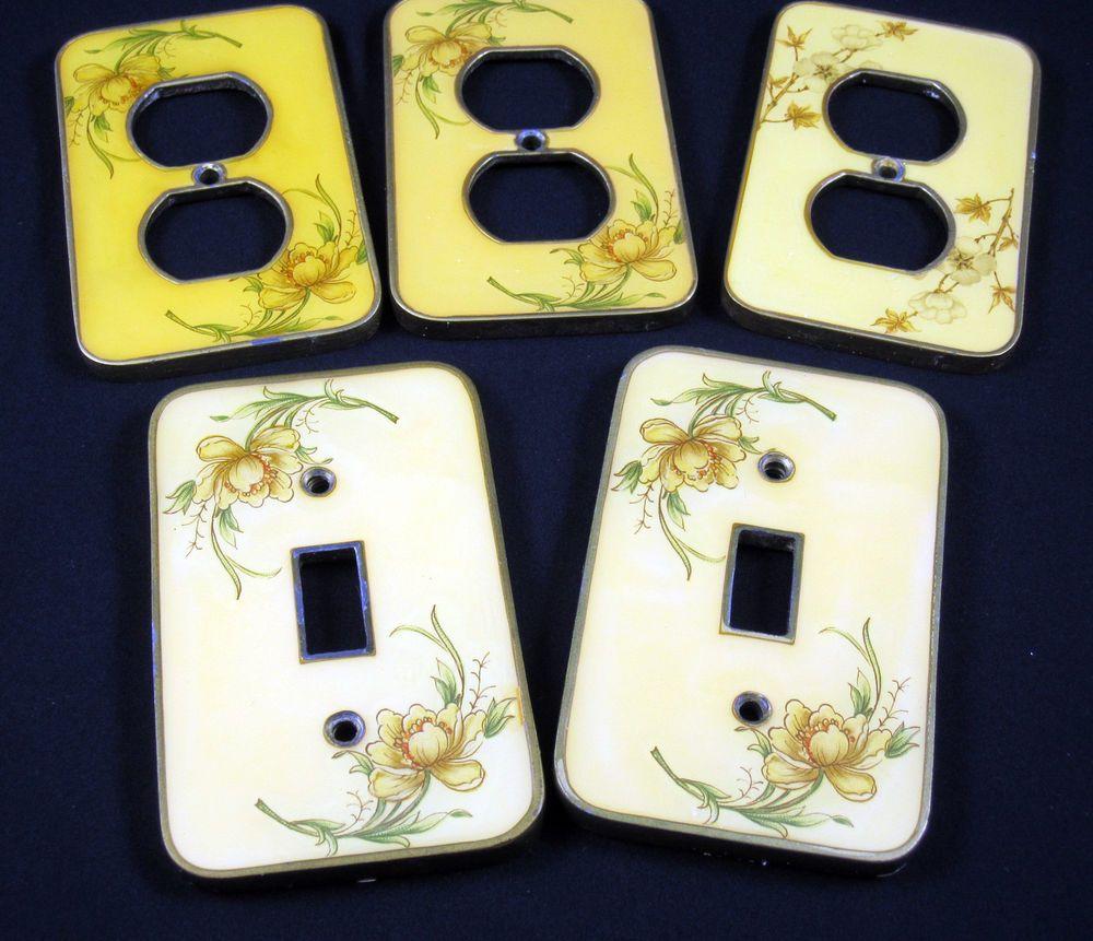 Light Switch Plate Outlet Covers Vintage 1940s Brass Porcelain Decorative Floral Unbranded Light Switch Plates Outlet Covers Switch Plates
