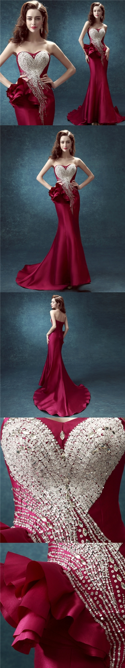 Sexy prom dresses trumpetmermaid elastic woven satin long prom