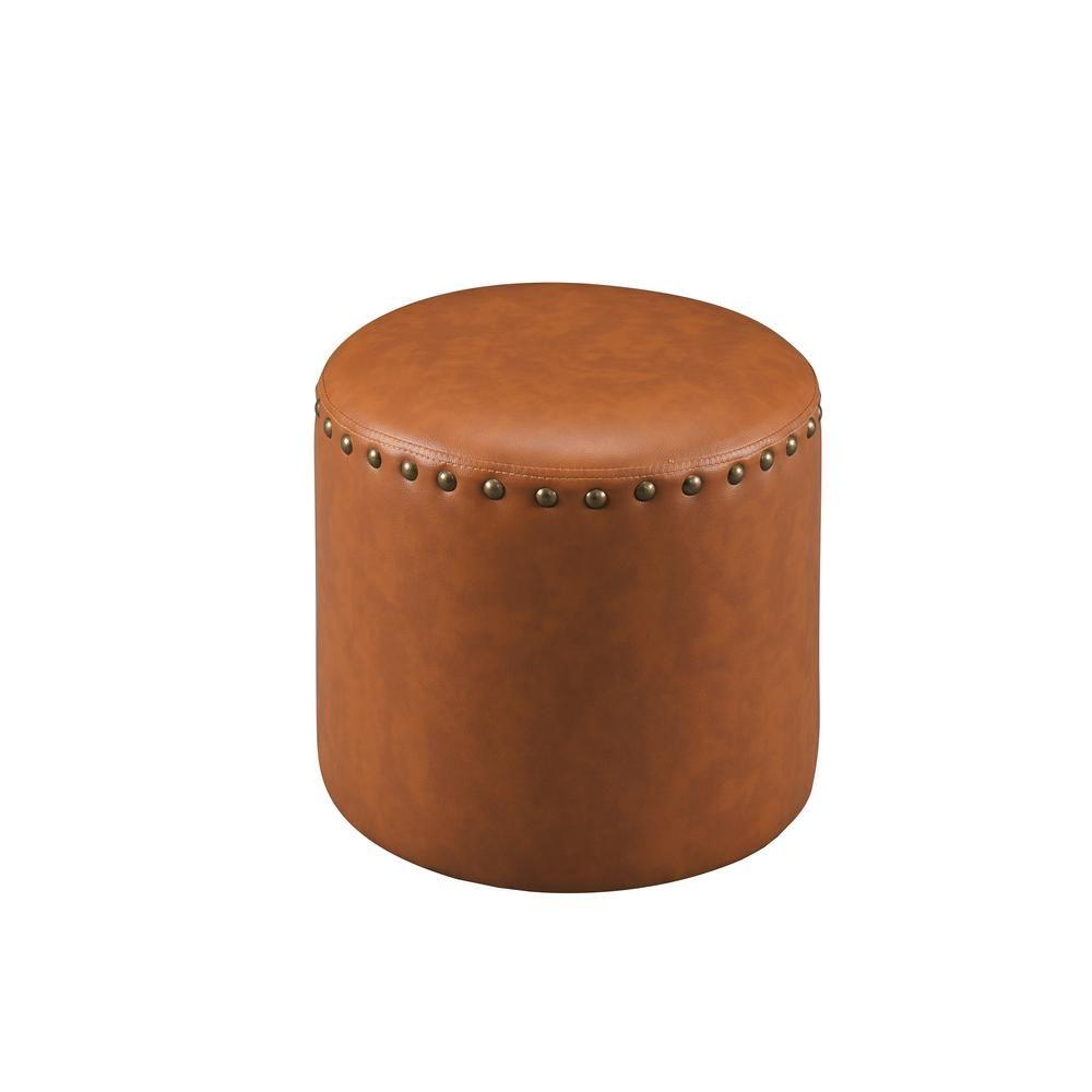 Astonishing Kings Brand Furniture Brown Nailhead Trim Faux Leather Round Theyellowbook Wood Chair Design Ideas Theyellowbookinfo