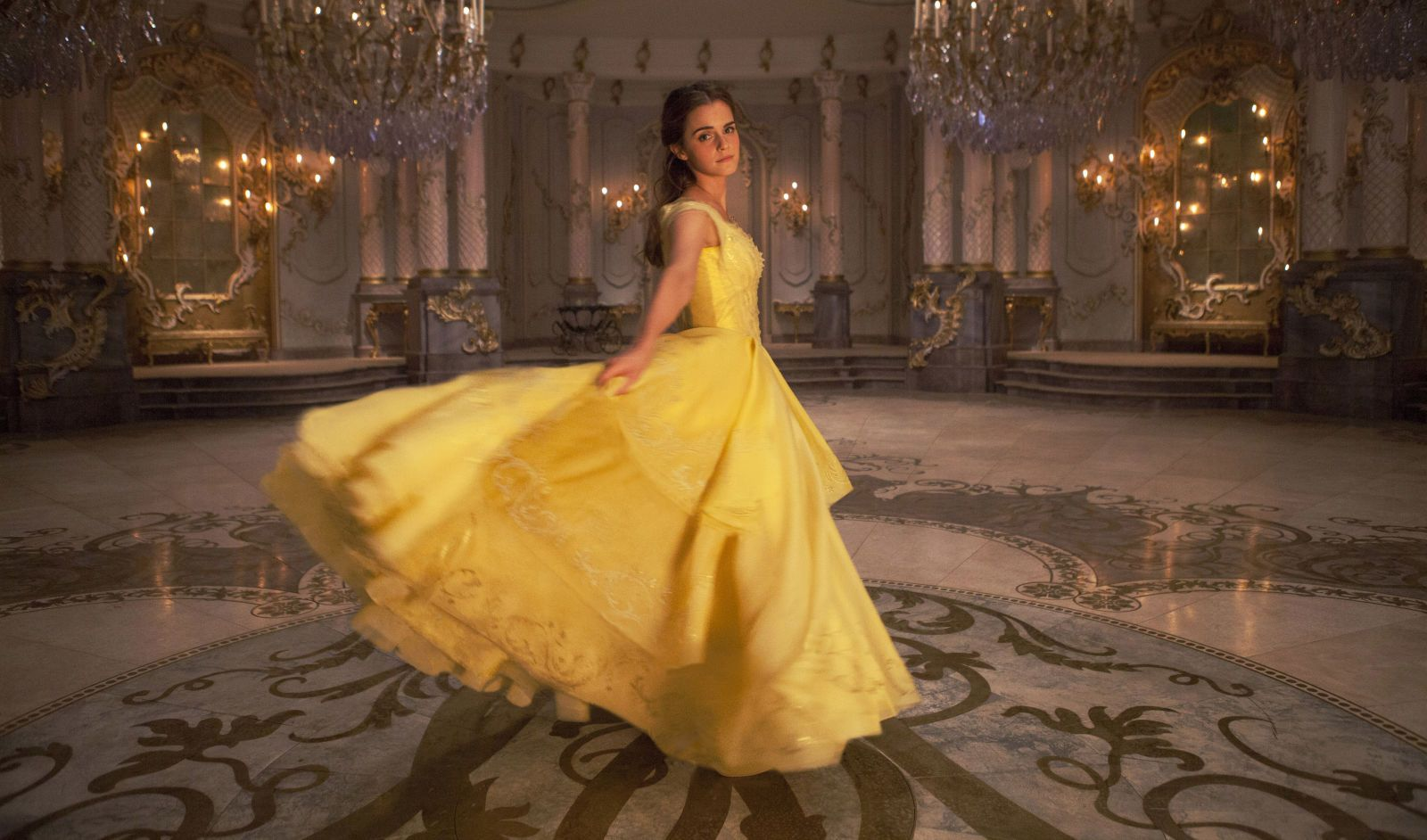See Emma Watson Wearing Belle's Celebration Dress for 'Beauty and the Beast'