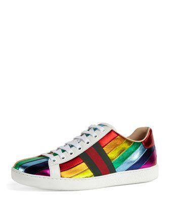 Gucci New Ace Metallic Striped Sneaker, Multi