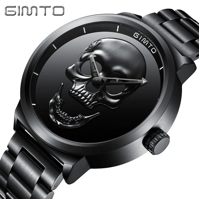 bf93f414a6e Barato GIMTO Homens assistir Moda de luxo À Prova D  Água Analógico Militar  criar crânio Masculino de Aço Inoxidável Relogio masculino Quartz Relógio de  ...