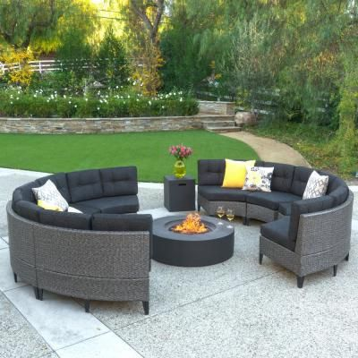 Noble House 10 Piece Wicker Patio Fire Pit Sectional Seating Set With Dark Gray Cushions 11889 The Home Depot In 2020 Round Sofa Fire Table Fire Pit Furniture