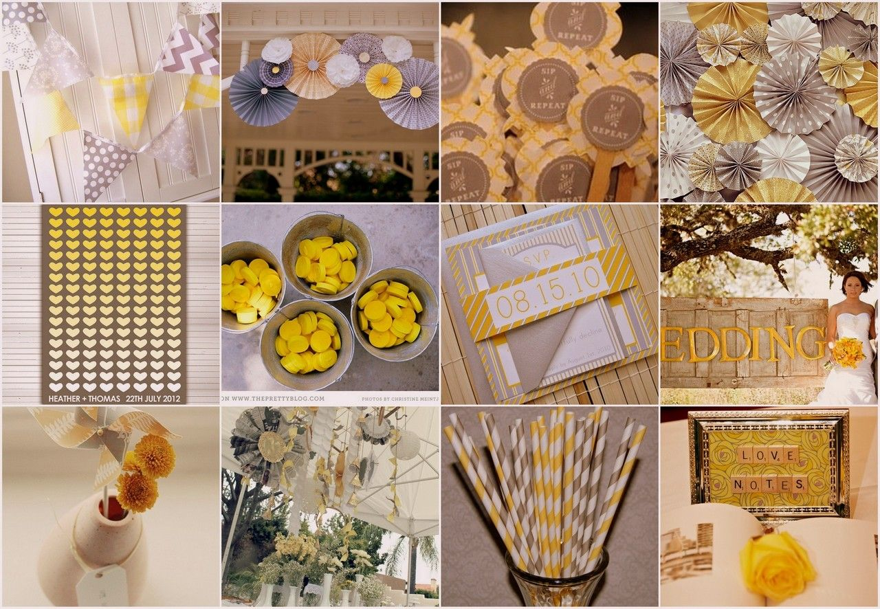 Wedding decorations yellow and gray  Yellow and Grey Wedding Theme Decor u Stationary  Yummy yellow and