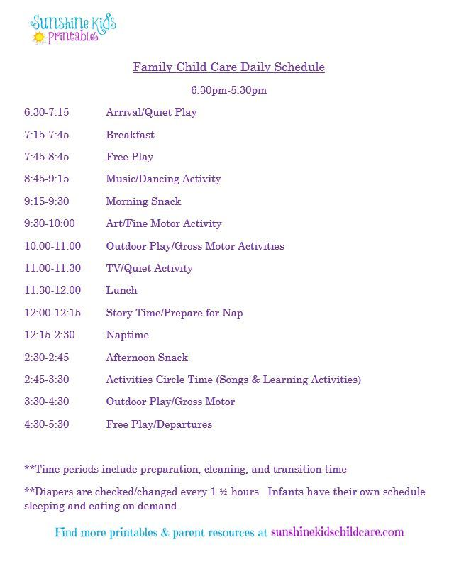 Child Care Daily Schedule HttpSunshinekidschildcareCom