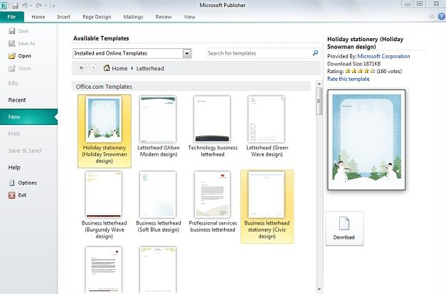 microsoft publisher 2010 comes with installed letterhead templates