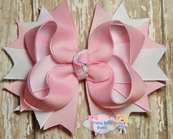 Pink and White Hair Bow Pink Hair Bow Pink by CrazyBoutBows