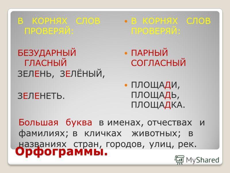 Русский язык 3 класс орфограммы 2 6 3 класс