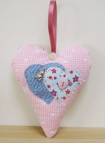 Applique heart decoration - Folksy