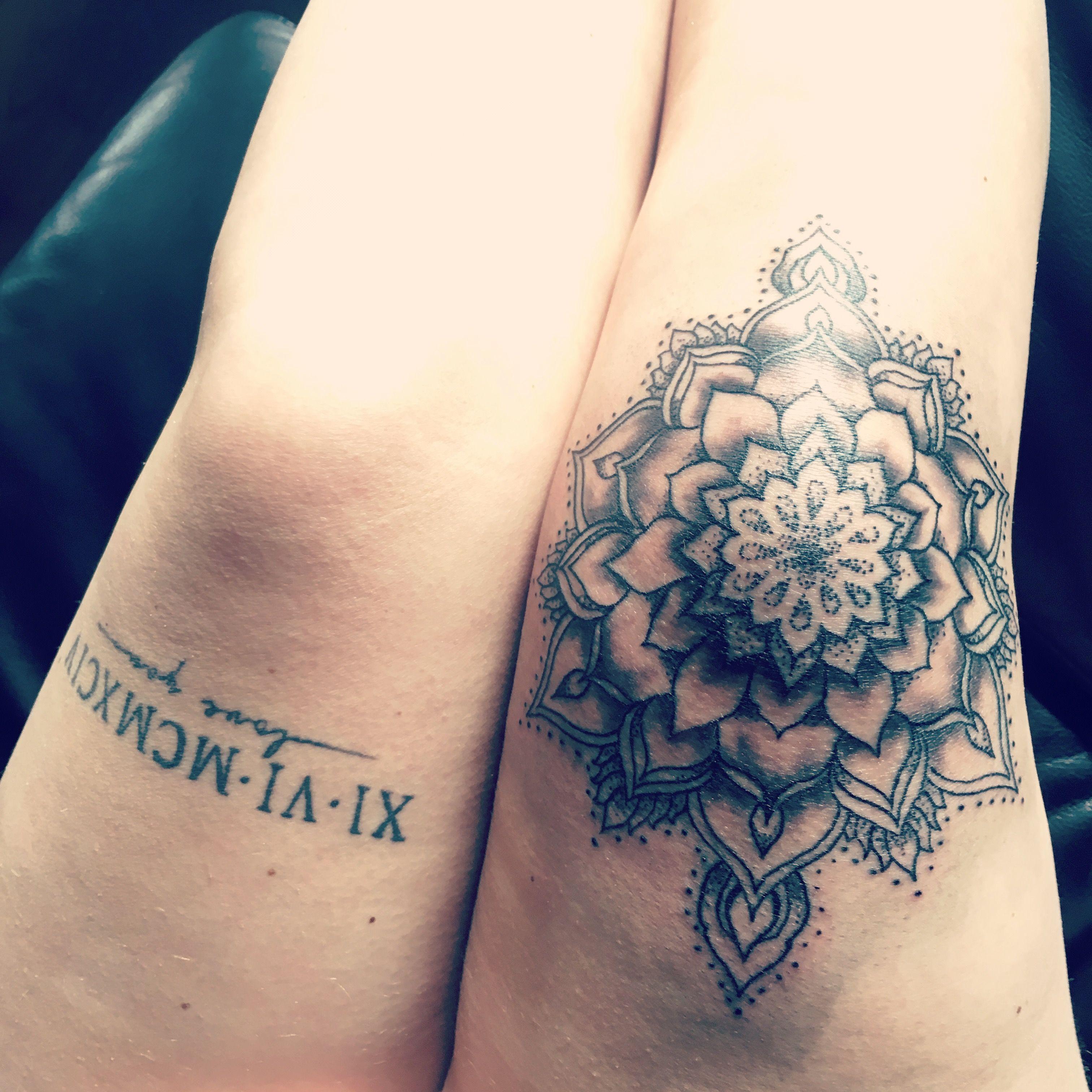 5368d47f0 Knee mandala ✌ #kneetattoo Knee Tattoo, Text Tattoo, Scar Tattoo, Tattoo  Time